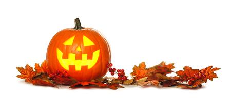 Halloween Jack o Lantern with autumn leaf border isolated on a white background