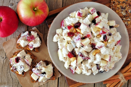 Autumn dish with chicken, apples, nuts and cranberries, on crackers overhead scene on rustic wood