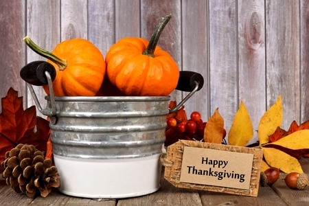 decor: Happy Thanksgiving tag, pumpkins, leaves and autumn home decor with rustic wood background