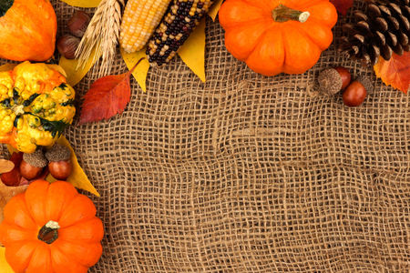 pinecone: Autumn corner border of pumpkins, leaves and gourds against a burlap background Stock Photo