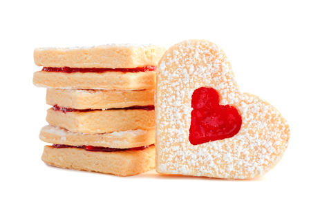 shaped: Group of Valentines Day heart shaped cookies with jelly isolated on a white background