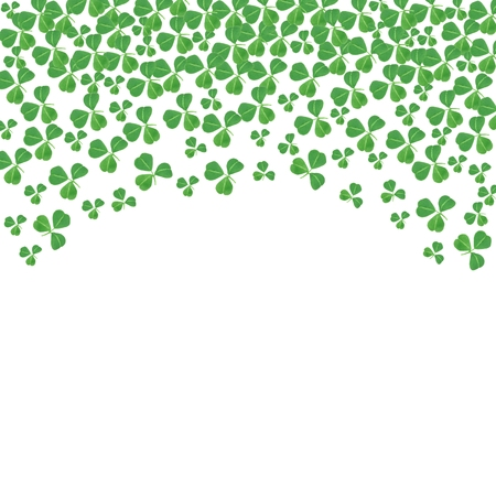 paddys: St Patricks Day curved top border of shamrocks over a white background