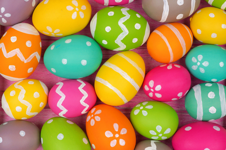 vibrant background: Full background of colorful, vibrant, hand painted Easter eggs