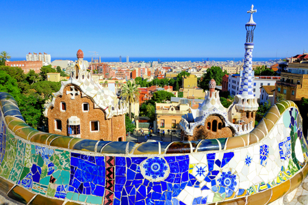 View over the beautiful Park Guell with colorful mosaic wall, Barcelona, Spain Editorial