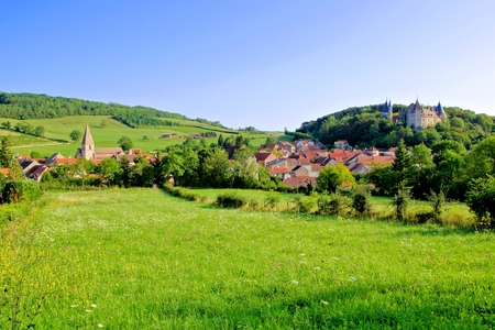 View over the beautiful village and medieval castle of Rochepot, Burgundy, France Editorial