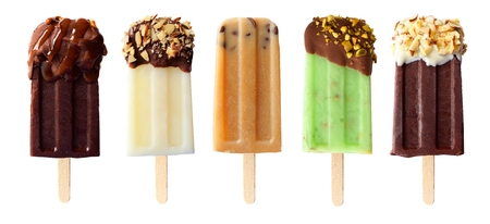 Five assorted chocolate themed popsicles isolated on a white background Stock Photo