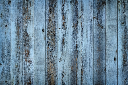 weathered: Rustic old weathered blue wood plank background with vignette