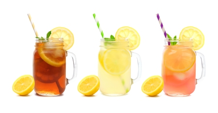 Three mason jar glasses of summer iced tea, lemonade, and pink lemonade drinks isolated on a white background Banque d'images