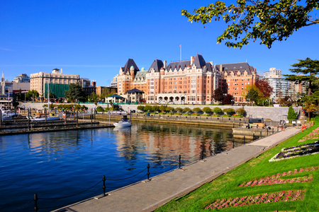 View of the beautiful harbor of Victoria, Vancouver Island, BC, Canada Imagens
