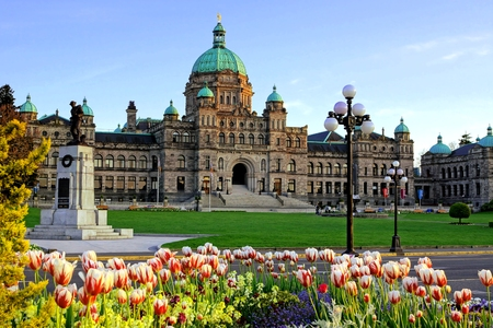 Historic British Columbia provincial parliament building with spring tulips, Victoria, BC, Canada 免版税图像