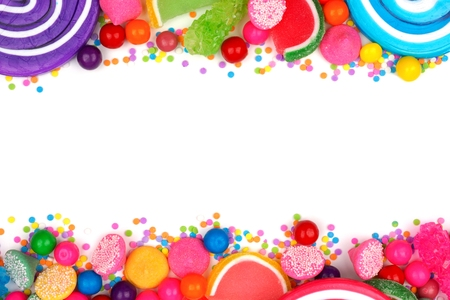 Double border of an assortment of colorful candies against a white background Stock Photo