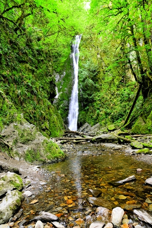 victoria bc: Waterfall in the rainforests of Goldstream Provincial Park, Vancouver Island, Canada