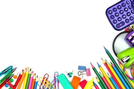 Colorful school supplies corner border against a white background