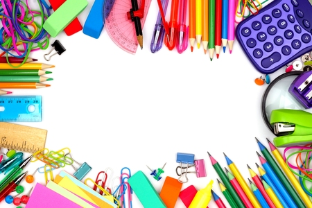 Colorful school supplies frame against a white background 版權商用圖片