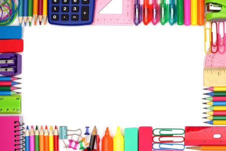 Back to School school supplies frame against a white background