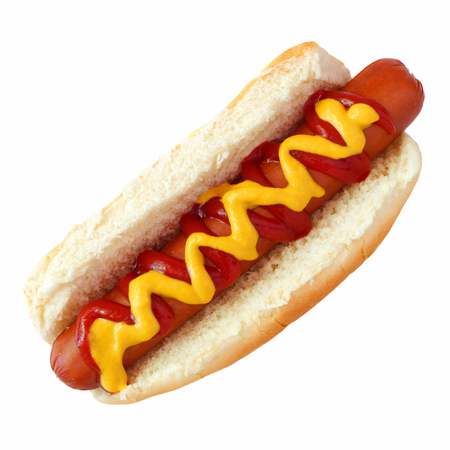 Hot dog with mustard and ketchup, top view isolated on a white background Foto de archivo