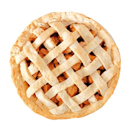 Eigengemaakte die appeltaart met roosterdeeg op een witte achtergrond, boven mening wordt geïsoleerd Stockfoto