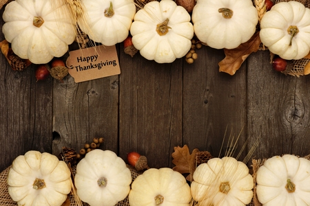 Happy Thanksgiving Gift Tag With Double Border Of Leaves And White Pumpkins Over A Rustic Wood