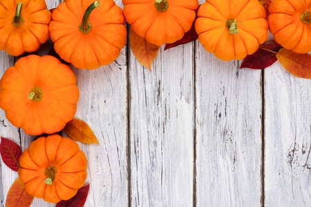 Autumn Leaves And Pumpkin Corner Border Over A Rustic White Wood Background Stock Photo