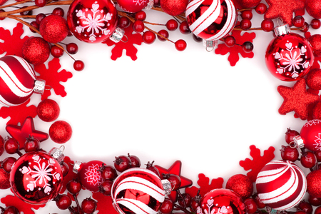 Christmas frame of red ornaments isolated on a white background 版權商用圖片