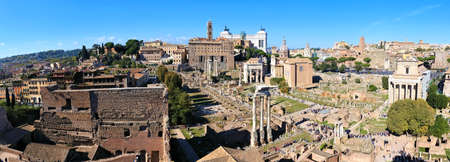 Rome, Italy panorama overlooking the ancient ruins of the Roman Forum