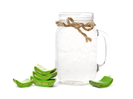 Healthy Aloe vera juice in a mason jar glass isolated on a white background Reklamní fotografie