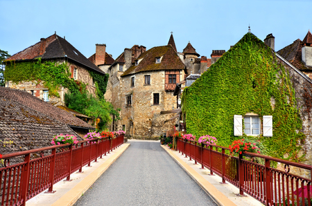 Picturesque houses of the beautiful Dordogne village of Carennac, France