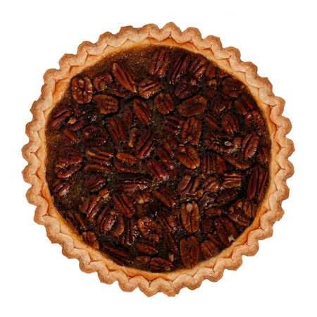 Traditional homemade pecan pie isolated on a white background 스톡 콘텐츠