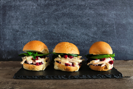 Roasted turkey sandwiches with cranberry sauce and cheese. Group on a serving plate against a dark background.