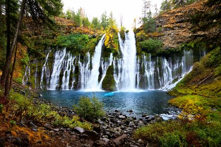 Picturesque McArthur-Burney Falls in northern California during autumn, USA Stok Fotoğraf