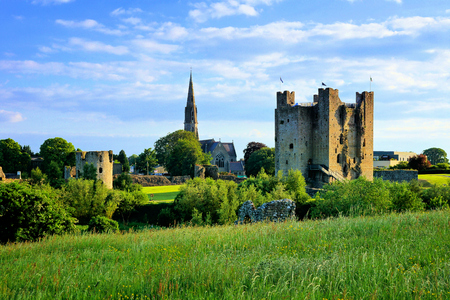 View of the historic Trim Castle with church, County Meath, Ireland Stock Photo