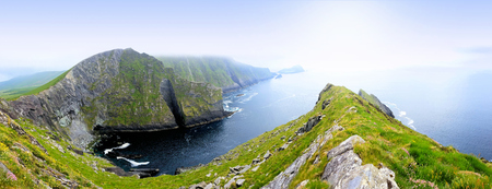 Panoramic view of the Kerry Cliffs of Portmagee on the Skellig Ring drive, Ring of Kerry, Ireland