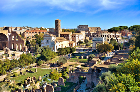 View over the ancient Roman Forum towards the Colosseum from Palatine Hill, Rome, Italy