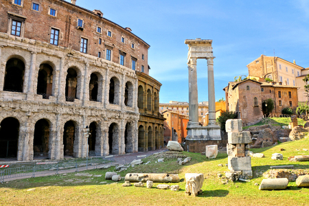 Ancient ruined temple and Marcello Theater in the historic center of Rome, Italy