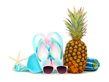 Summer vacation beach accessories isolated on a white background
