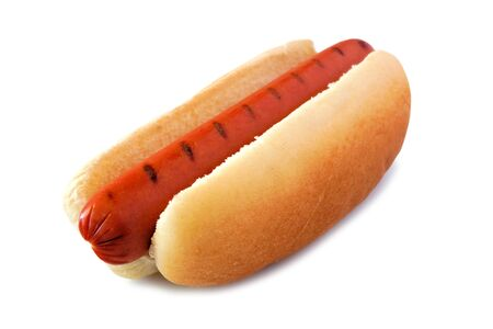 Hot dog with barbecue grill marks, side view isolated on a white
