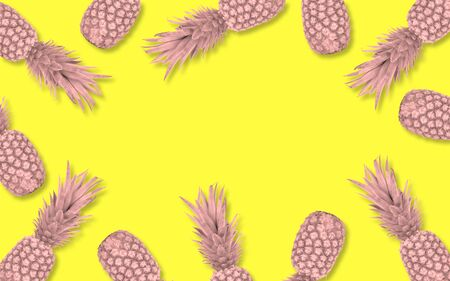 Abstract pink pineapple frame over a yellow background with copy space Imagens