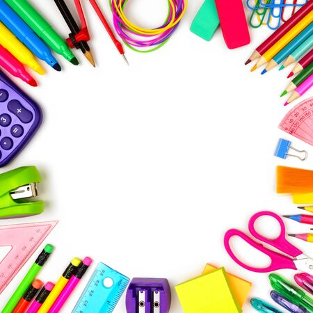 School supplies square frame, top view isolated on a white background with copy space, back to school concept