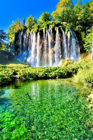 Beautiful waterfalls of Plitvice Lakes National Park, Croatia