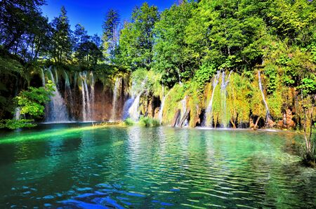 Beautiful waterfalls and clear blue lakes of Plitvice Lakes National Park, Croatia 写真素材