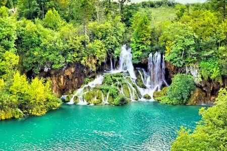 Beautiful waterfall landscape of Plitvice Lakes National Park, Croatia