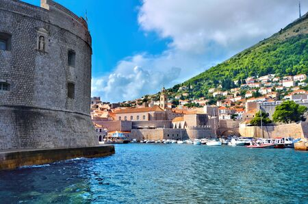 View of old town of Dubrovnik, Croatia over the blue waters at the beautiful harbor