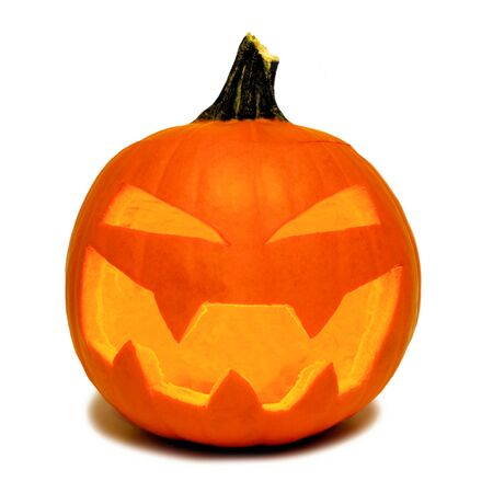 Traditional Halloween Jack o Lantern isolated on a white background Stock Photo