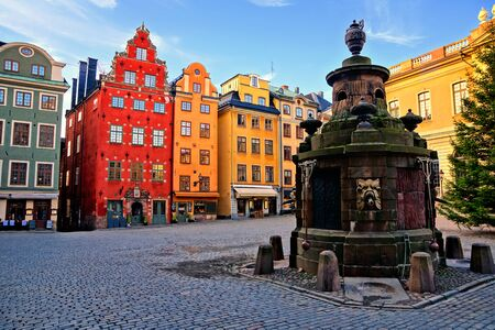 Colorful buildings of Stortorget, the main square in Gamla Stan, the Old Town of Stockholm, Sweden