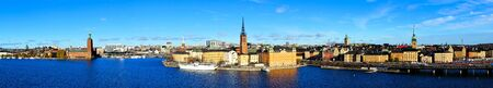 Panoramic view of the cityscape of Stockholm, Sweden with City Hall and Gamla Stan