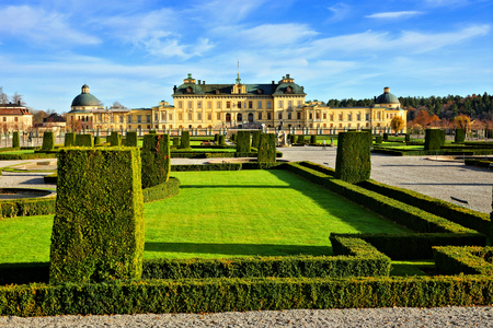 Drottningholm Palace, view from its garden during autumn, Stockholm, Sweden