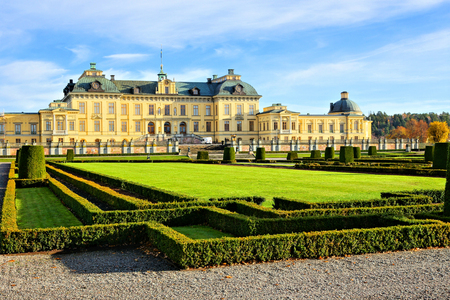 View of the royal Drottningholm Palace from its gardens, Stockholm, Sweden