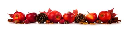 Autumn border of apples, leaves, and fall decor, side view isolated on white
