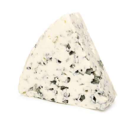 Wedge of blue cheese isolated on a white background 免版税图像