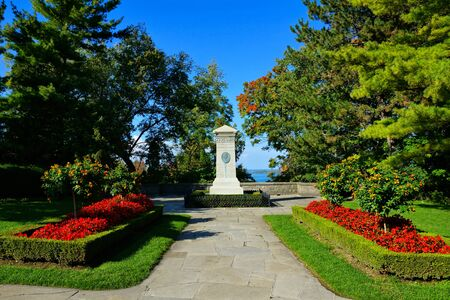 View of gardens and War of 1812 monument to Laura Secord in Queenston Heights, Ontario, Canada
